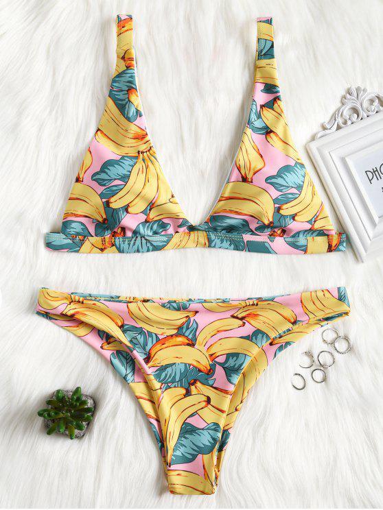 0f00322614240 11% OFF  2019 Low Cut Banana Print Bikini In YELLOW