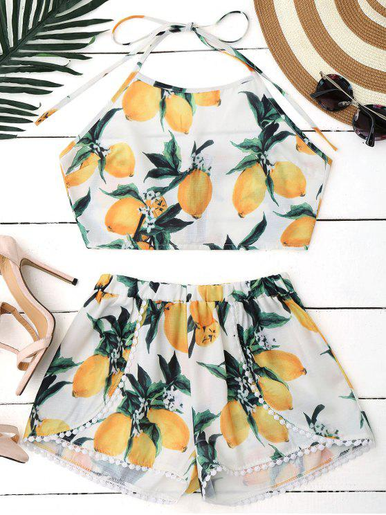 Ensemble Short et Crop Top Halter Imprimé Citron - Blanc L