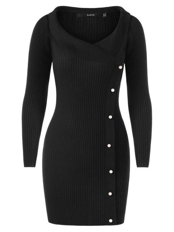 shop Long Sleeve Ribbed Sweater with Pearls - BLACK ONE SIZE