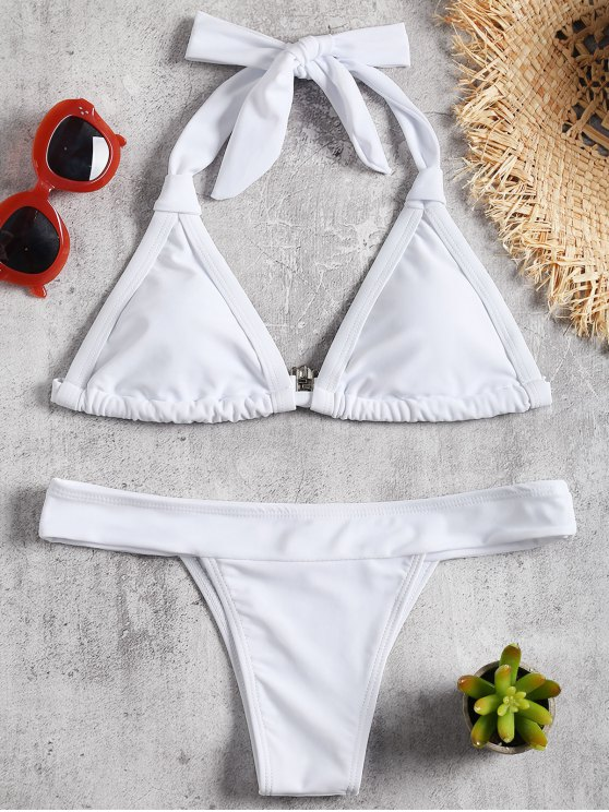 gepolstert Halfter Bikini Set - Weiß L