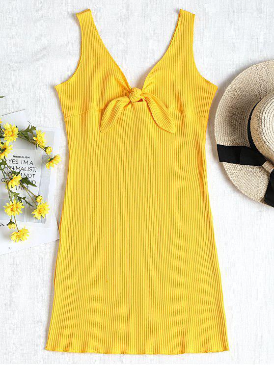 lady Ribbed Knot Mini Tank Dress - YELLOW S