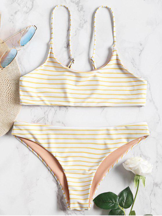 outfit Cami Striped Bralette Bikini Set - YELLOW M