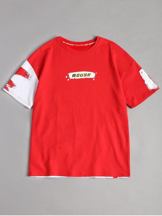 outfits Splash Mouse Graphic Tee - RED L
