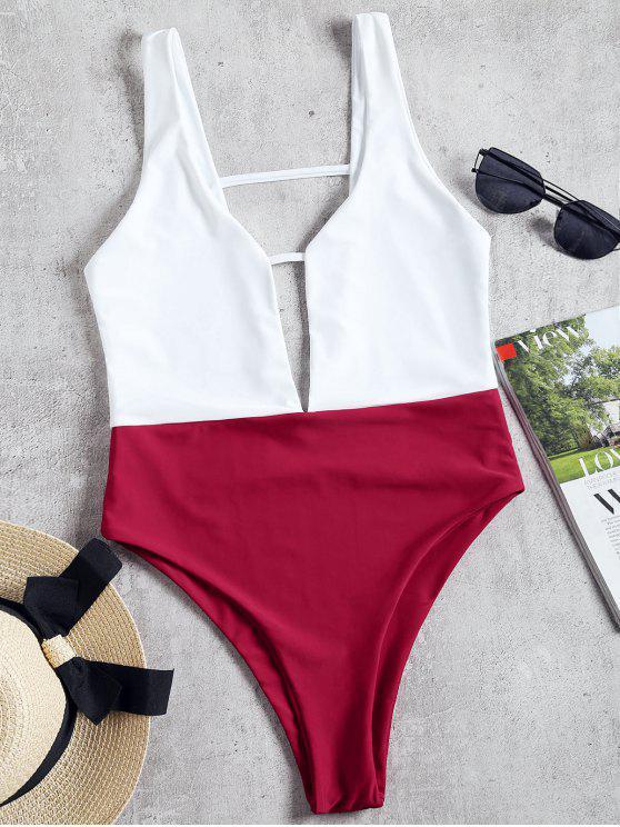 85613002659 online High Cut Two Tone One Piece Swimwear - BURGUNDY XL