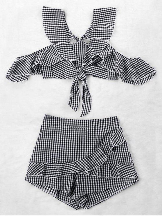 unique Ruffle Gingham Crop Top and Skort Set - BLACK WHITE XL