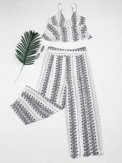Printed Cami Top And High Slit Pants - White L