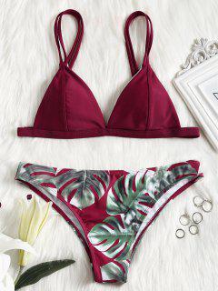 Bikini Con Estampado De Hojas De Camuflaje De Cami - Rojo S
