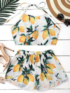Lemon Halter Crop Top Shorts Set - White L
