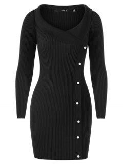 Long Sleeve Ribbed Sweater With Pearls - Black