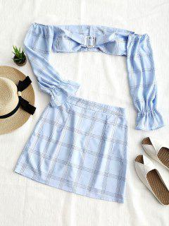 Cropped Plaid Off Shoulder Top And Skirt Set - Light Blue Xl