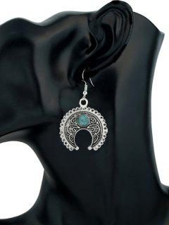 Turquoise Embellished Curvy Moon Drop Earrings - Silver