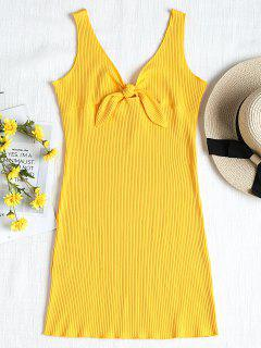 Ribbed Knot Mini Tank Dress - Yellow M