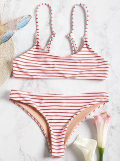Conjunto De Bikini Bralette De Rayas De Cami - Rojo S