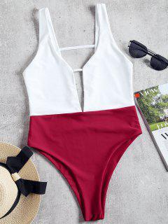 High Cut Two Tone One Piece Swimwear - Burgundy M