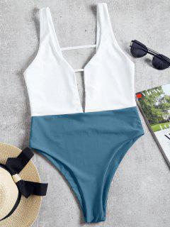 High Cut Two Tone One Piece Swimwear - Blue Gray L