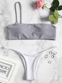 Conjunto De Bikini Con Tanga De Un Solo Hombro - Azul Gris S