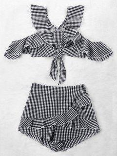 Ruffle Gingham Crop Top And Skort Set - Black White Xl