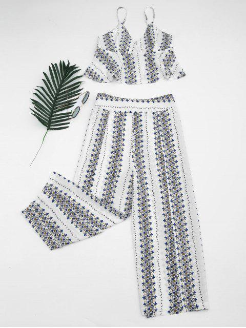 womens Printed Cami Top and High Slit Pants - WHITE M Mobile