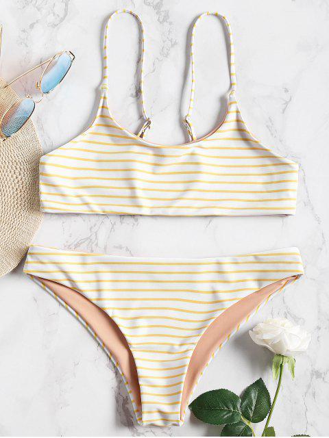 Cami Gestreiftes Bralette Bikini Set - Gelb S Mobile