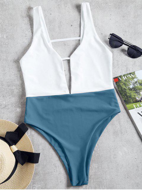 Traje de baño de una pieza de corte alto de dos tonos - Gris Azulado S Mobile