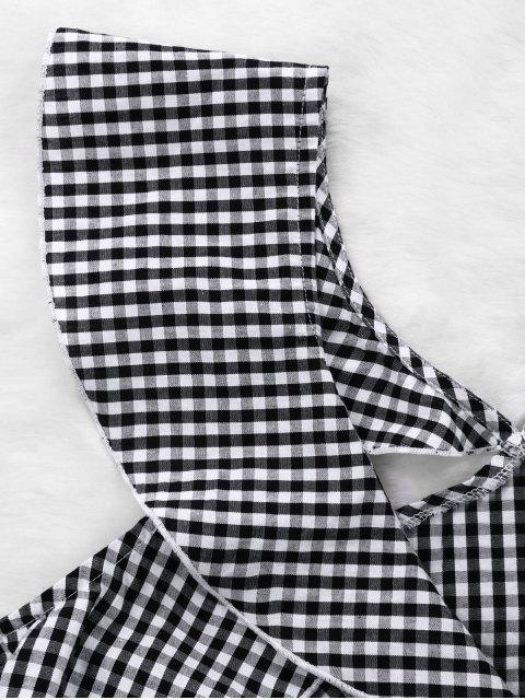 Conjunto de falda corta y falda acampanada con volantes guinga - Negro Blanco XL Mobile