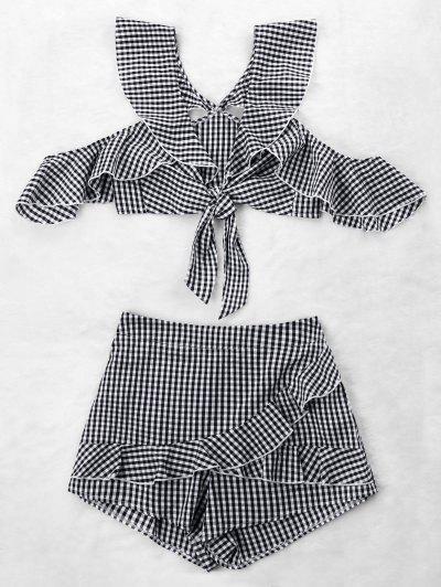 Ruffle Gingham Crop Top And Skort Set - Black White Xl