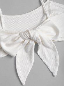 Top Y En Parte Blanco Nudo Con Nudo Posterior M Recortado La rqwRf1Sr