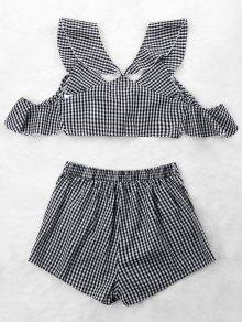 fdc1bbb31a5 67% OFF] 2019 Ruffle Gingham Crop Top And Skort Set In BLACK WHITE ...