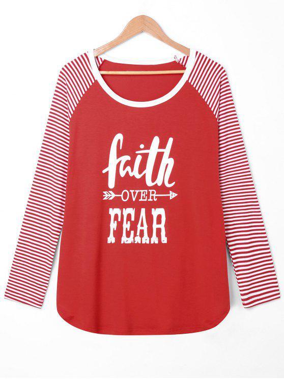 b4e8841359 63% OFF  2019 Faith Over Fear Plus Size Baseball Tee In RED 5XL