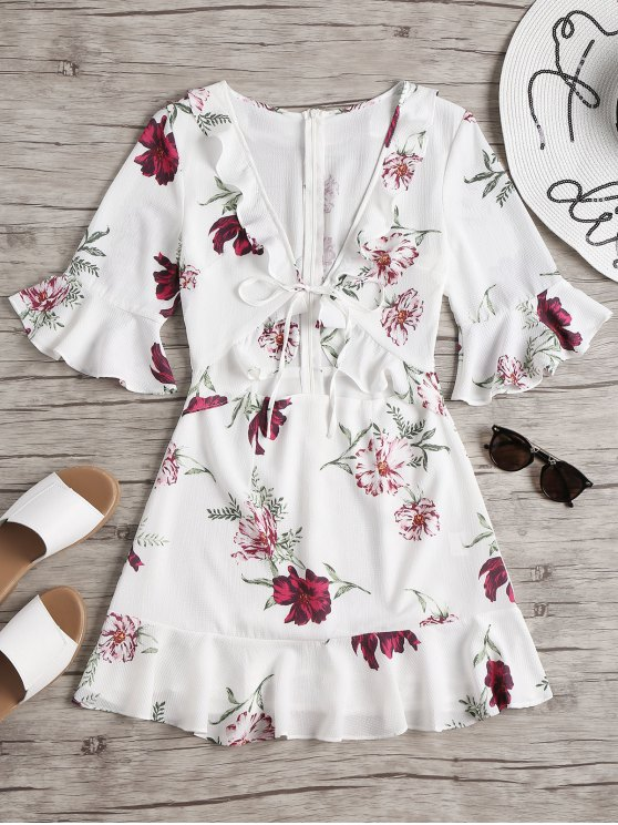 outfit Cut Out Floral Ruffled Mini Dress - WHITE M