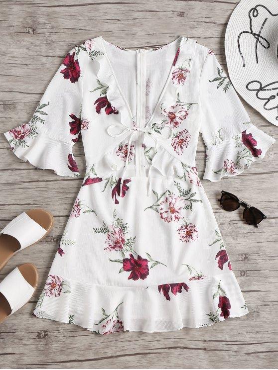 shop Cut Out Floral Ruffled Mini Dress - WHITE L