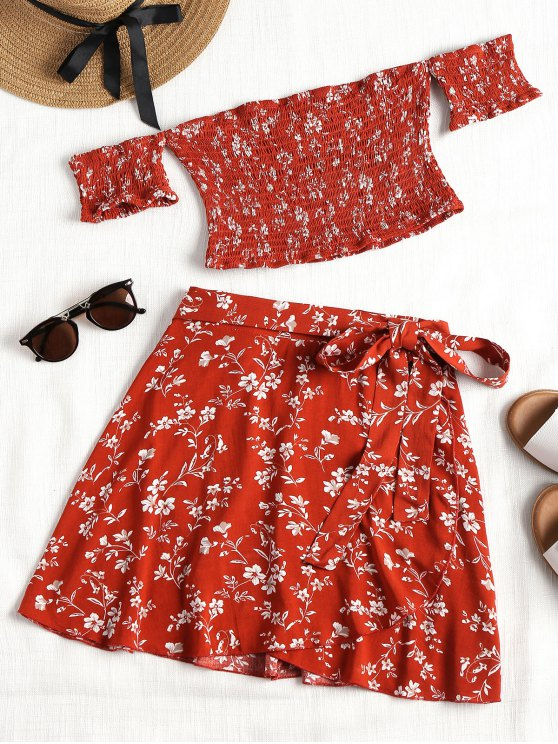 chic Smocked Off Shoulder Top and Wrap Skirt Set - BRICK-RED M