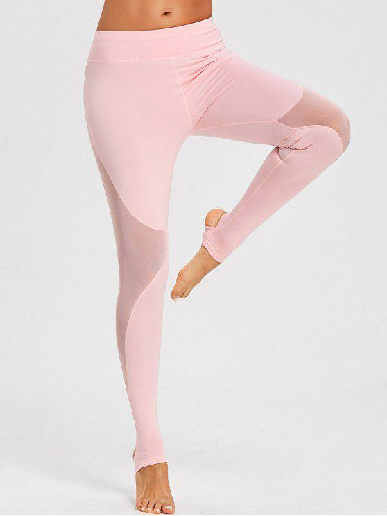 women Mesh Panel Stirrup Sports Leggings - PINK M