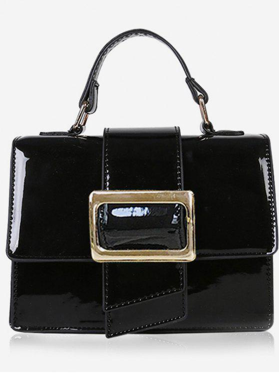 lady Minimalist Glazed Handbag with Shoulder Strap - BLACK