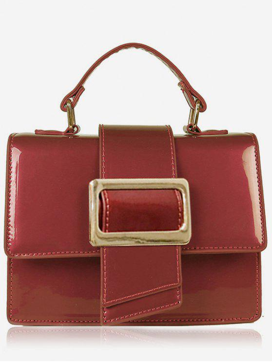 best Minimalist Glazed Handbag with Shoulder Strap - RED