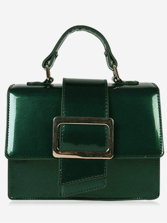 online Minimalist Glazed Handbag with Shoulder Strap - GREEN