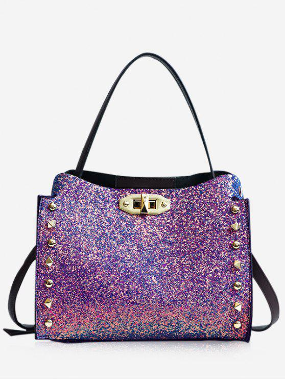 new Studded Rivet Detail Paillette Shoulder Bag - DAZZLING