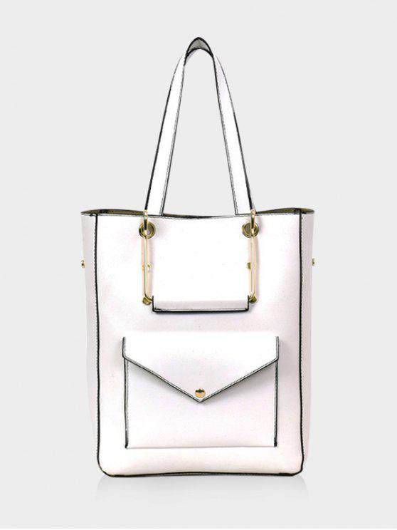 outfit Big Capacity PU Leather Casual Tote Bag - WHITE