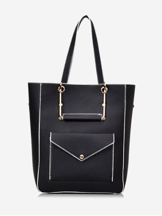 outfits Big Capacity PU Leather Casual Tote Bag - BLACK