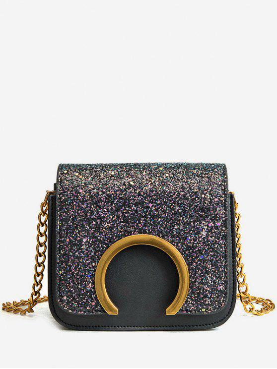 Metal Detail Paillette Mini Crossbody Bag - Preto