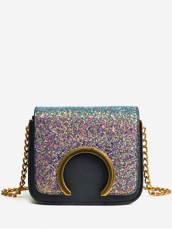 Metal Detail Paillette Mini Crossbody Bag - COLORIDO