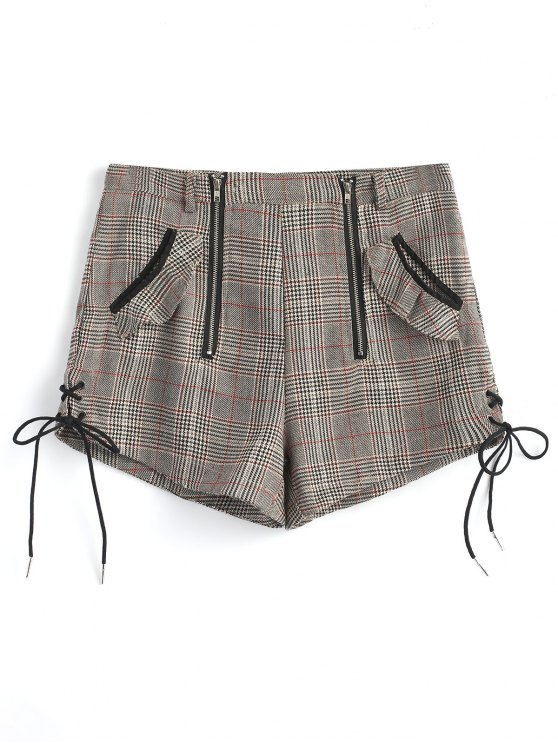 women Zip Up Lace Up Plaid Shorts - GRAY M