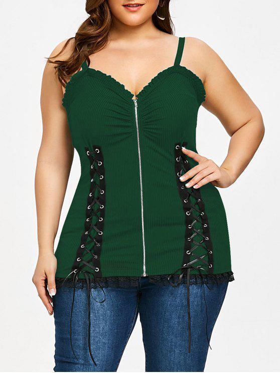 Criss Cross Zipper Up Plus Size parte superior do deslizamento - Verde 2XL