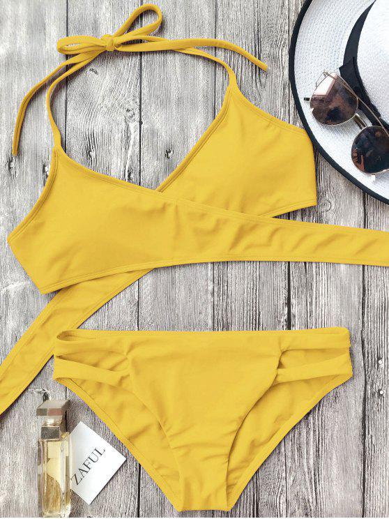 Conjunto de bikini con corte halter recortable - Amarillo S