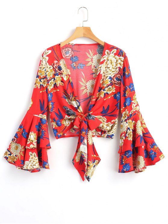 online Tied Floral Bell Sleeve Top - RED L