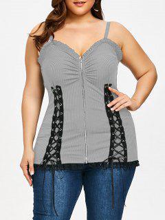 Criss Cross Zipper Up Plus Size Slip Top - Gray 5xl