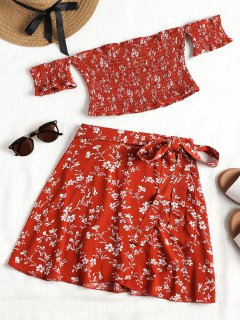 Smocked Off Shoulder Top And Wrap Skirt Set - Brick-red L