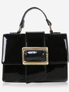 Minimalist Glazed Handbag With Shoulder Strap - Black