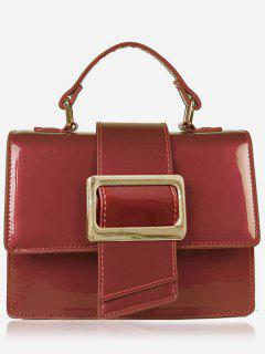 Minimalist Glazed Handbag With Shoulder Strap - Red