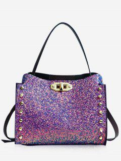 Studded Rivet Detail Paillette Shoulder Bag - Dazzling